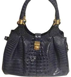 ec4380ef34 Brahmin Elisa Melbourne Blue Croco Handbag Navy Satchel on Sale, 23% Off |  Satchels. Tradesy