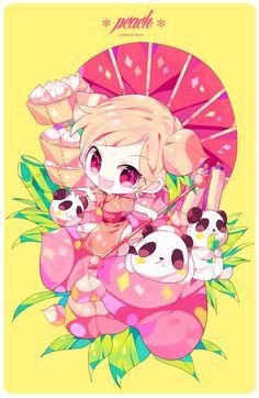 Peach Cookie Kawaii Chibi, Cute Chibi, Kawaii Cute, Kawaii Girl, Anime Chibi, Kawaii Anime, Pet Anime, Anime Art, Peach Cookies