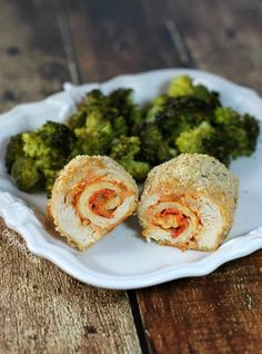 Pizza Chicken Roulades - breaded chicken filled with saucy, cheesy pizza toppings! 283 calories or 6 Weight Watchers SmartPoints each. www.emilybites.com