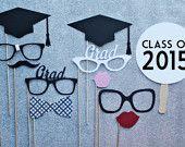 2015 Graduation Photo Booth Prop Set. High School Graduation -   Photobooth Props Commencement, Class of 2015, Senior
