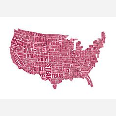 American Gastronomy Map Red  by LucyLovesThis $27