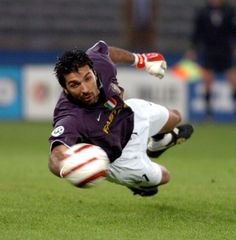 Getting sideways with Gianlugi Buffon.