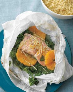 Salmon and Spinach in Parchment