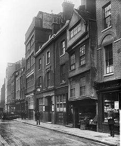Fetter Lane, City Of London, Jul 1889. Showing Fetter Lane Congregational Chapel and the Steam Print Works
