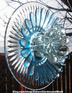Lazy Day Blue Glass Plate Flower Yard Art by ZbearsGardenandShed