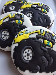 1 Dozen Monster Truck Cookies by SugaredHeartsBakery on Etsy, $40.00