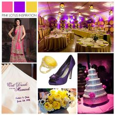 Hot Pink Purple Yellow Wedding Inspiration Color Board - Pink Lotus Events    https://pinklotusevents.wordpress.com/2013/04/15/color-board-hot-pink-purple-and-yellow/