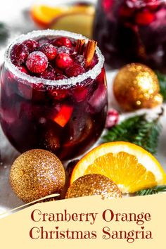 Cranberry Orange Christmas Sangria Add some Christmas cheer to your holiday gathering with this Cranberry Orange Christmas Sangria! Made with cranberries orange slices apple slices brandy cinnamon sticks red wine and a splash of cranberry gingerale! Winter Sangria, Cranberry Sangria, Red Sangria Recipes, Red Wine Sangria, Christmas Sangria, Holiday Drinks, Fun Drinks, Yummy Drinks, Holiday Recipes