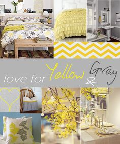 I want yellow and grey in the bedroom. I'd also like to add pink, and maybe blue or deep purple.