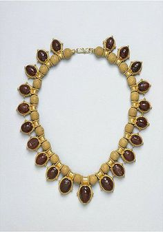 Castellani gold and carved carnelian scarab necklace.