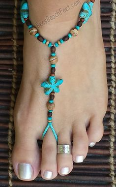 Saltwater Stars ~ visit BecsBeachFeet.com ✿ Foot Jewelry • Barefoot Sandals • Anklets • Bracelets