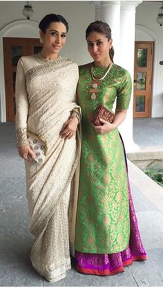 Bollywood Star Sisters: #Karishma_Kapoor and #Kareena_Kapoor @ late 2015. Loving Karishma's sari! <333 sharara