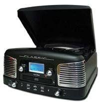 Inovalley Retro03 Cadena estéreo con tocadiscos negro