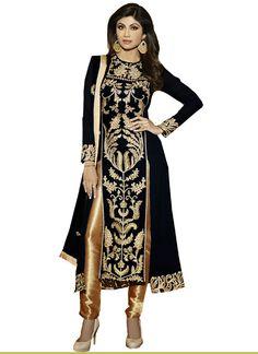 Shilpa+Shetty+Bhagalpuri+Silk+Zari+Work+Black+Semi+Stitched+Churidar+Suit+-+YF at Rs 2499