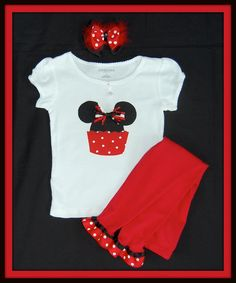 mickey and minnie mouse sprinkles | Mickey Mouse Cupcake Red and Black Applique Tee Shirt AND Ruffled ...