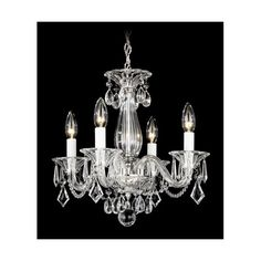 Schonbek  Allegro Silver Four-Light  Chandelier, 14W x 13.5H x 14D ($548) ❤ liked on Polyvore featuring home, lighting, ceiling lights, schonbek chandelier, four light, outdoor hanging lights, hanging chain lamp and outside light