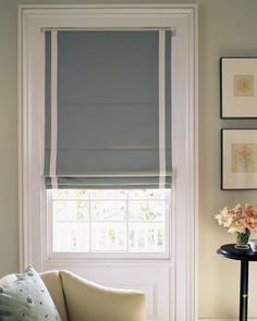 Roman Blinds, beautifully simple with contrast ribbon detail
