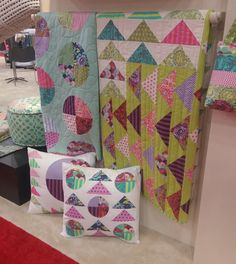 Free patterns for these two quilts and the pillows, done in Tula Pink Elizabeth