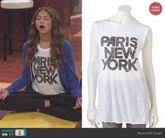 KC's Paris New York top on KC Undercover.  Outfit Details: http://wornontv.net/48128/ #KCUndercover