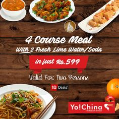Hurry Up..!! Delish 4 Course Meal..😋 Grab the opportunity of unlimited #corporate #Meal #offer in just Rs. 599 at Yo China Mohali. 🍽️🥢🍴 Offer Valid for 2 Persons.