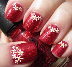 Love the little daisies.  Not sure about the red background.