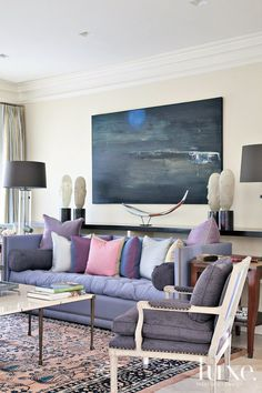 Transitional Cream Living Room with Purple Sofa