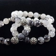 Tourmalinated Quartz Bracelet by angelovajewelry on Etsy