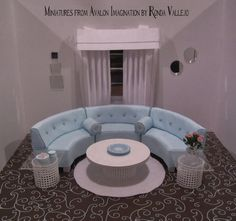 Miniature dollhouse 1:12th Scale Semi-circular sectional sofa and bolster pillows in aqua light blue