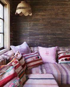Create your own bohemian space like this one using our Kilim cushions! Online now!  #kilim #kilimcushion #boho #bohemian #oneofakind #vintage #handmade #bohodecor #pink #atribeofmyown image via @pinterest
