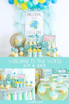 Includes Balloons! Sip N See Hot Deal Blue Jungle Boy Baby Shower Celebration Set Service For 36