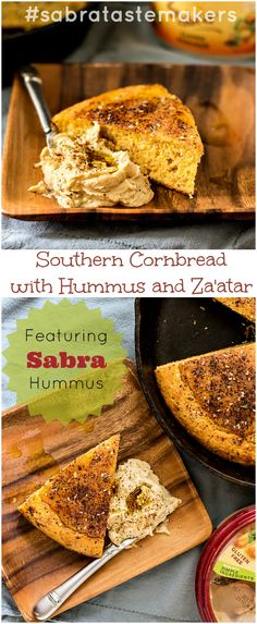 Southern Cornbread with Hummus and Za'atar | pastrychefonline.com | Sabra Tastemakers #sponsored