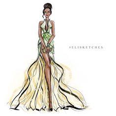 Tiana (Fashion by EliStJohn @Instagram) #ThePrincessAndTheFrog