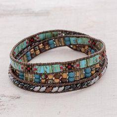 Glass beaded wrap bracelet, 'Santiago Atitlan Path' - Colorful Glass Beaded Wrap Bracelet from Guatemala Making Bracelets With Beads, Beaded Wrap Bracelets, Bracelets For Men, Silver Bracelets, Fashion Bracelets, Beaded Jewelry, Embroidery Bracelets, Leather Bracelets, Charm Bracelets