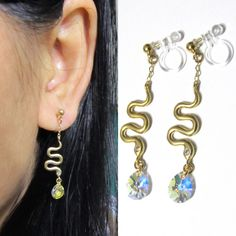 Petit Snake Clip-on Earrings 8F Gold Plate Drop by boadNNcraft