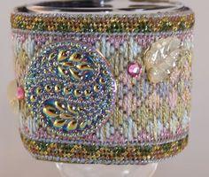 SALE Needlepoint Wrist Cuff - Beautiful Pastel Bargello Needlepoint Embellished Wrist Cuff - Size 7.25 (W325)