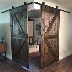 Two of our British Brace with Border barn doors being used to close off this beautiful corner office space 👏 Photo Cred: @home_by_ugarte #RusticRoo #barndoors #handmade #rustic #rusticdecor #farmhouse #farmhousestyle #barn #woodwork #woodworking #carpentry #custom #homeoffice #aussie #interior #interiordesign Barn Door Decor, Diy Barn Door, Barn Door Hardware, Diy Door, Farmhouse Style Bedrooms, Farmhouse Interior, Interior Barn Doors, Farmhouse Ideas, Farmhouse Office