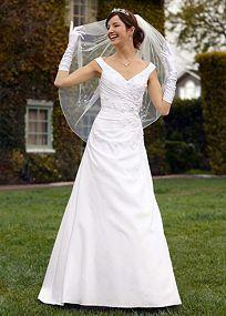 $200 Satin (slightly off the shoulders) side draped A-line gown. Affordable Wedding Dresses | On Sale Now | Shop at Davids Bridal