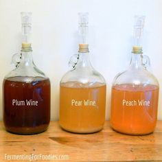 Here is everything you need to know in order to make homemade cider and wine in your house. It's easier than you think! Pear wine, plum wine, peach wine, apple cider and more! Homemade Wine Recipes, Homemade Cider, Homemade Alcohol, Homemade Liquor, Plum Recipes, Wine Drinks, Alcoholic Drinks, Beverages, Cocktails