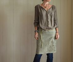 Hemp Half Apron / Dusty Sage with Buddha Print by untoldimprint on Etsy.