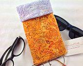 Quilted Eyeglasses- Sunglasses Case, Batik Glasses Pouch, Hidden Magnetic Snap