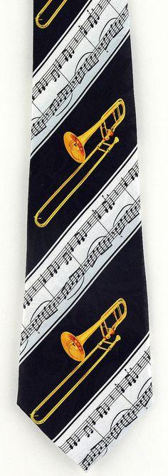 New Trombone Score Mens Necktie Musical Instrument Trombones Music Neck Tie #StevenHarris #NeckTie