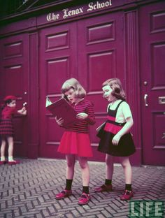 From LIFE magazine, circa who knows when. The little girls' outfits in this are amazing and the colors in the photograph are stunning. Perfect haircuts, too.
