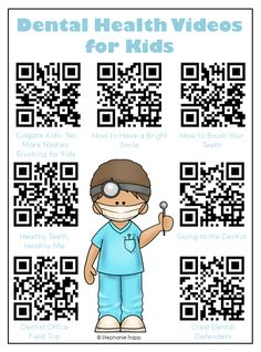 Free printable with QR codes to 7 dental health videos for kids.  Perfect for…