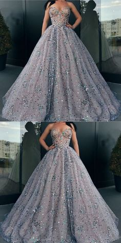 Ball Gown Prom Dresses Sweetheart Rhinestone Long Sparkly Prom Dress by MeetBeauty, $235.64 USD