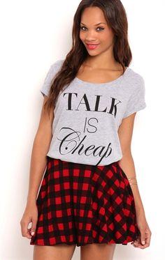 Knit Skater Skirt with Buffalo Plaid Print
