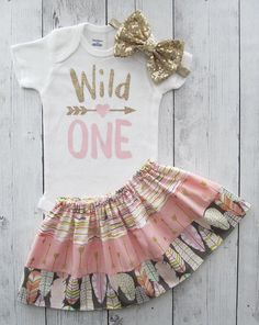 Wild One Birthday Outfit pink gold feather skirt wild one