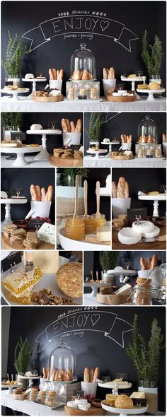 Bread, cheese, spreads gourmet table
