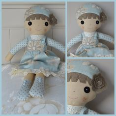 PDF SEWING PATTERN  SWEET ARIA Dolly 16 Sweet Aria Dressed doll This is a PDF sewing pattern, it makes this gorgeous Dolly in her little lace edged pinafore. With her flowered hat and buttoned boots shes a lovely project.   Shes 16 or 40 cm long and made from woven cotton fabric. Flesh coloured plain cotton for face, legs and hands 1/4 metre or yard is plenty Two different patterned fabrics, 1/4 metre or yard are used to create this sweet doll.  She has felt and embroidered features This is…