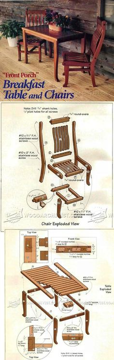 Breakfast Table and Chairs Plans - Furniture Plans and Projects | WoodArchivist.com