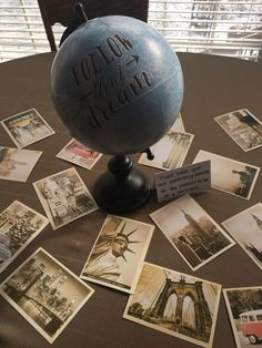 The World Awaits / Travel theme Baby Shower - leave advice for first time parents on vintage post cards